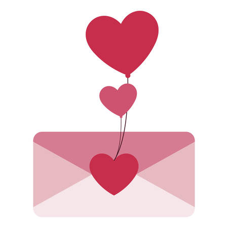 envelope letter love with hearts balloons helium vector illustration design