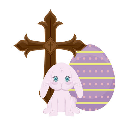 cross catholic with rabbit and egg of easter vector illustration design