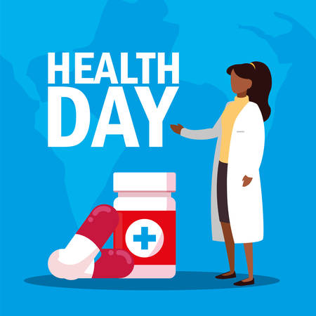 world health day card with woman doctor and medicines vector illustration design