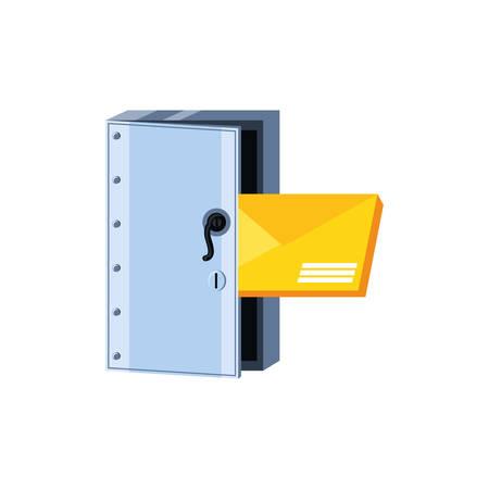 safe box security with envelope mail vector illustration design Ilustração