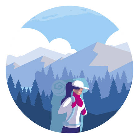 adventurous woman with travelbag in the snowscape vector illustration design