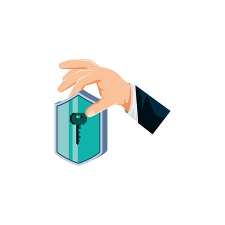 hand with shield secure isolated icon vector illustration design
