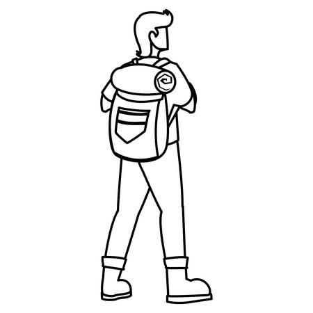 adventurous man with travelbag vector illustration design Vector Illustratie