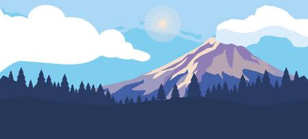 Berge mit Waldschneelandschaftsszenenvektor-Illustrationsdesign
