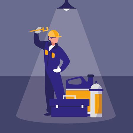 Trabajador mecánico con caja de herramientas y extintor, diseño de ilustraciones vectoriales Ilustración de vector
