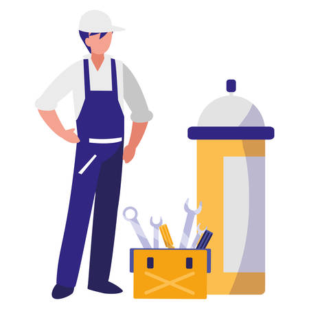 mechanic worker with toolbox and extinguisher vector illustration design