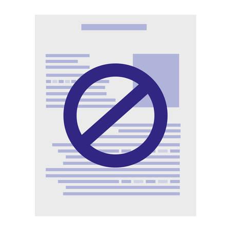 paper document with denied symbol vector illustration design