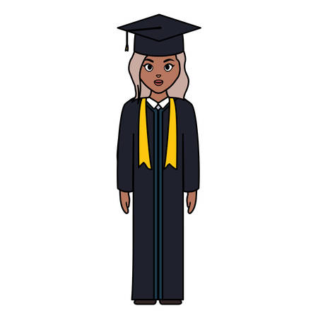 young student graduated girl black character vector illustration design Illustration