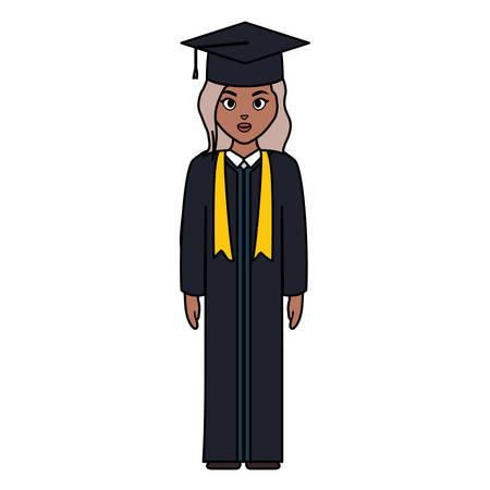 young student graduated girl black character vector illustration design Illustration