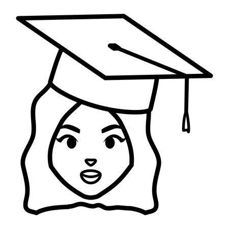 young student graduated girl head character vector illustration design