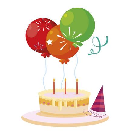 sweet cake birthday with balloons helium vector illustration design Ilustração
