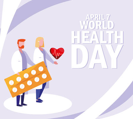 world health day with couple doctors and icons vector illustration design Illustration