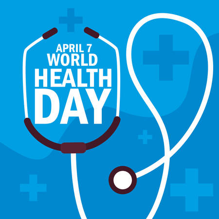 world health day card with stethoscope vector illustration design