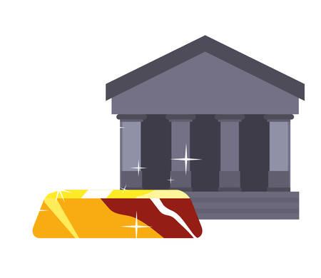 business bank gold bar on white background vector illustration