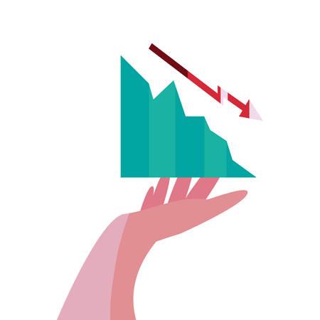 hand with diagram report arrows decrease vector illustration