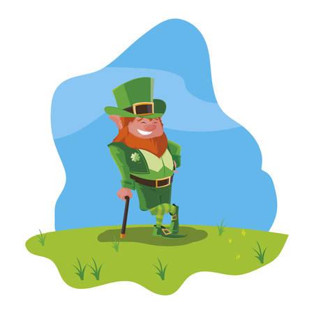 saint patrick lemprechaun with cane in the field vector illustration design Banque d'images - 124285762