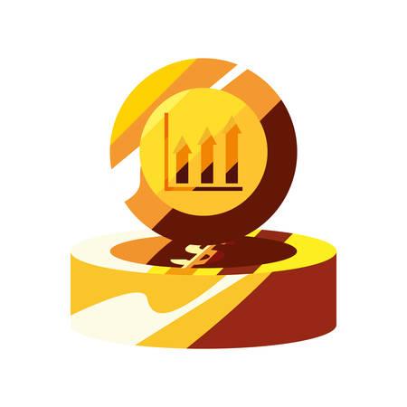 gold coins dollar chart arrows vector illustration
