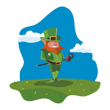 saint patrick lemprechaun with cane in the field vector illustration design Banque d'images - 124285929