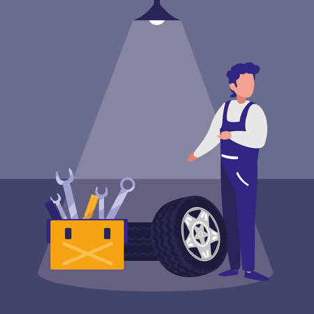 mechanic worker with tire car and toolbox vector illustration design