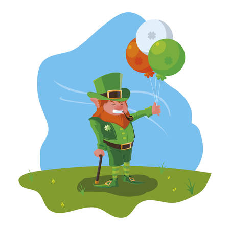 lemprechaun with balloons helium in the camp vector illustration design Banque d'images - 124286245