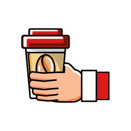 hand with coffee container plastic vector illustration design