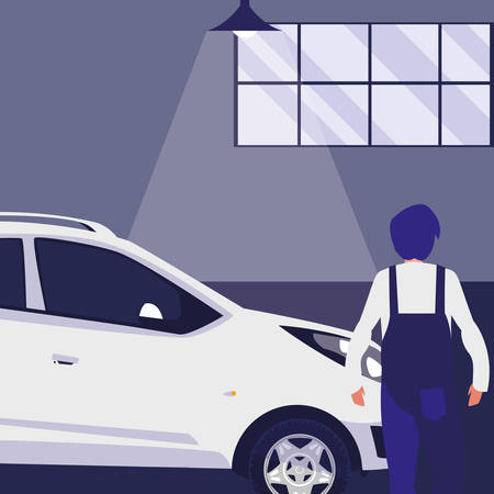 mechanic worker with car in the workshop vector illustration design