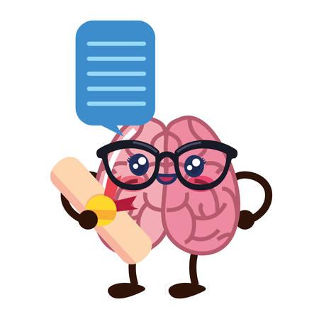 brain cartoon certificate speech bubble creativity vector illustration