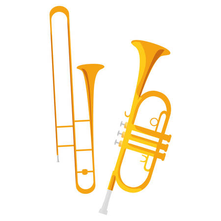 trumpets instruments musical icons vector illustration design Banque d'images - 124286274