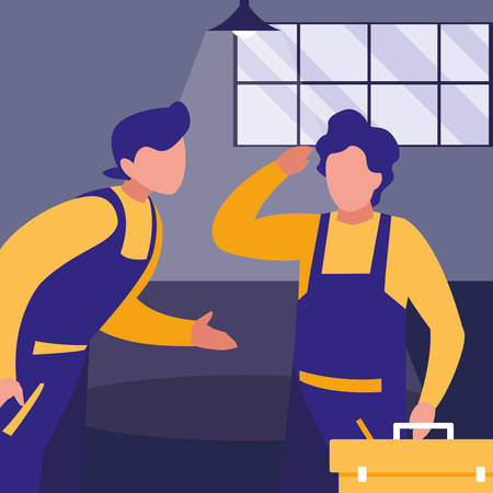 mechanics workers with toolbox characters vector illustration design