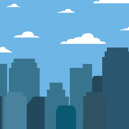 green cityspace buildings urban sky vector illustration