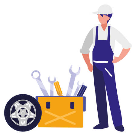 Travailleur mécanicien avec pneu voiture et boîte à outils vector illustration design