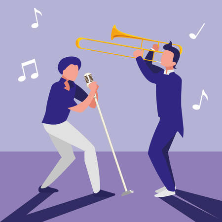 singer and musician couple characters vector illustration design