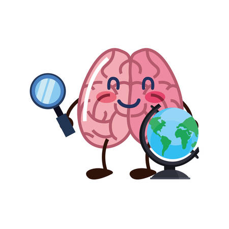brain cartoon world magnifier creativity vector illustration