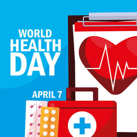 world health day card with first aid kit vector illustration design  イラスト・ベクター素材