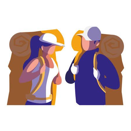 adventurous couple with travelbag vector illustration design Vector Illustratie