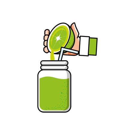 hand with delicious and fresh lemonade vector illustration design