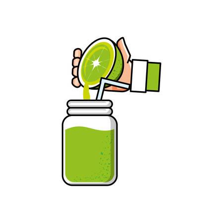 main avec la conception d'illustration vectorielle de limonade délicieuse et fraîche Vecteurs