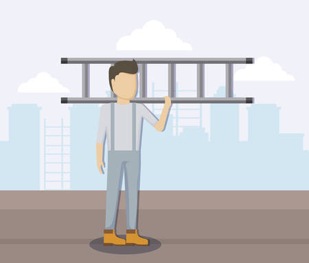 construction worker with stairs vector illustration design