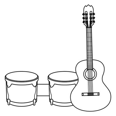 guitar and timbals instruments musical vector illustration design