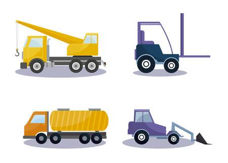 under construction vehicles icons vector illustration design