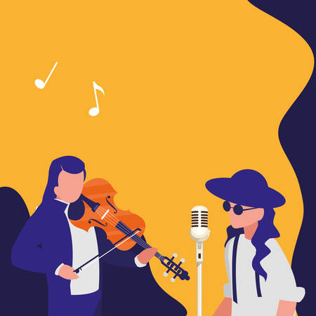 singer and musician couple characters vector illustration design Ilustrace