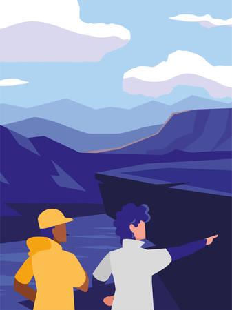 young men in mountains landscape scene vector illustration design Illustration