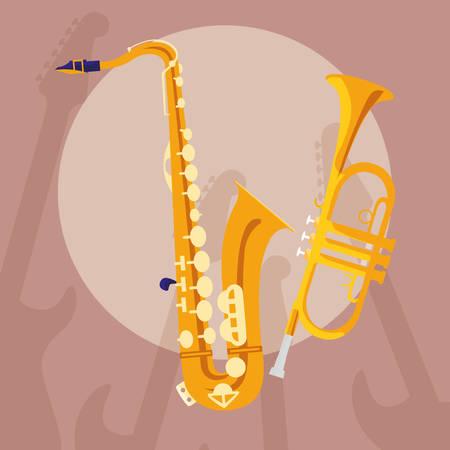 saxophone and trumpet instruments musical vector illustration design