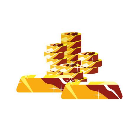 coins stacked gold bars treasure vector illustration