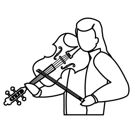 violinist playing fiddler character vector illustration design