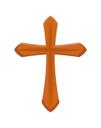 wooden catholic cross isolated icon vector illustration design