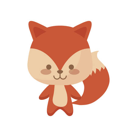 cute fox animal character vector illustration design Stock Illustratie