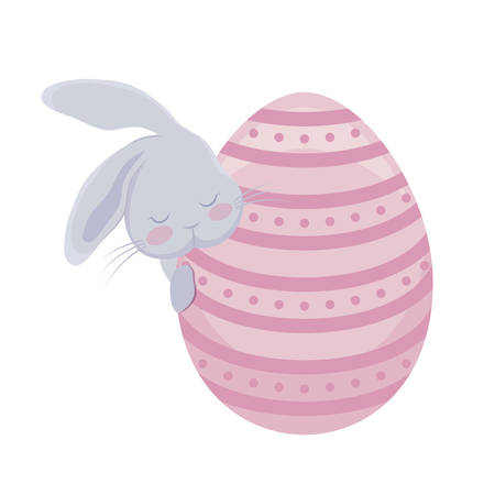 cute rabbit with egg of easter vector illustration design Illustration