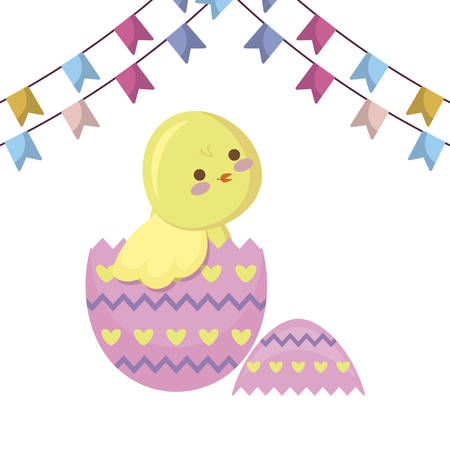 cute chicken of easter in egg with garlands vector illustration design 일러스트