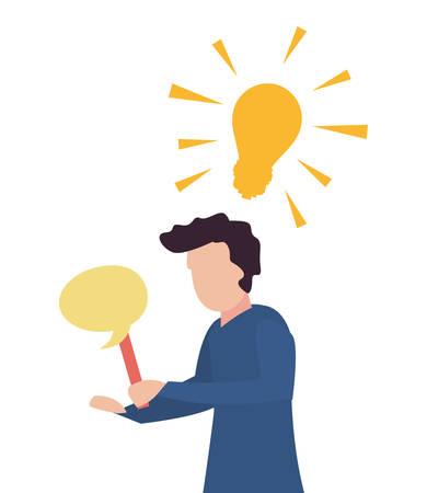 trivia night - man holding speech bubble bulb vector illustration Illustration